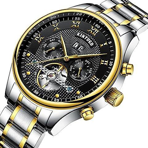 Swiss Men's Stainless Steel Tourbillon Automatic Mechanical Watch KINYUED Calendar Week Multifunctional (Swiss Mechanical Automatic)