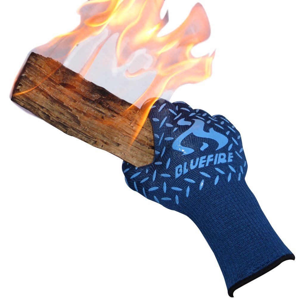 BlueFire Pro Heat Resistant Gloves - Oven - BBQ Grilling - Big Green Egg - Fireplace Accessories and Welding. Cut Resistant, Forearm Protection -100% Kevlar Certified 932°F Heat Resistance by BlueFire