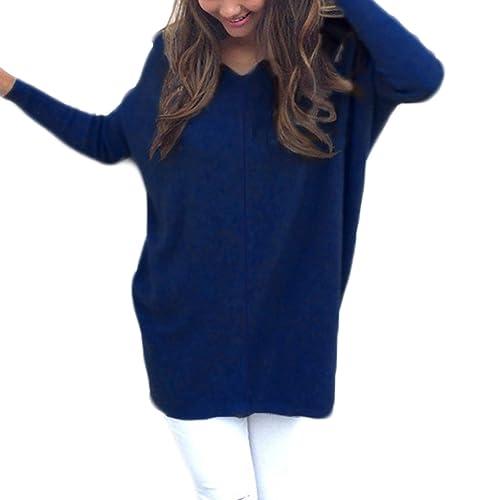Mujer Invierno Jerséy Suéter Cuello V Casual Tejido De Punto Vestido De Manga Larga Vestidos T-Shirt...