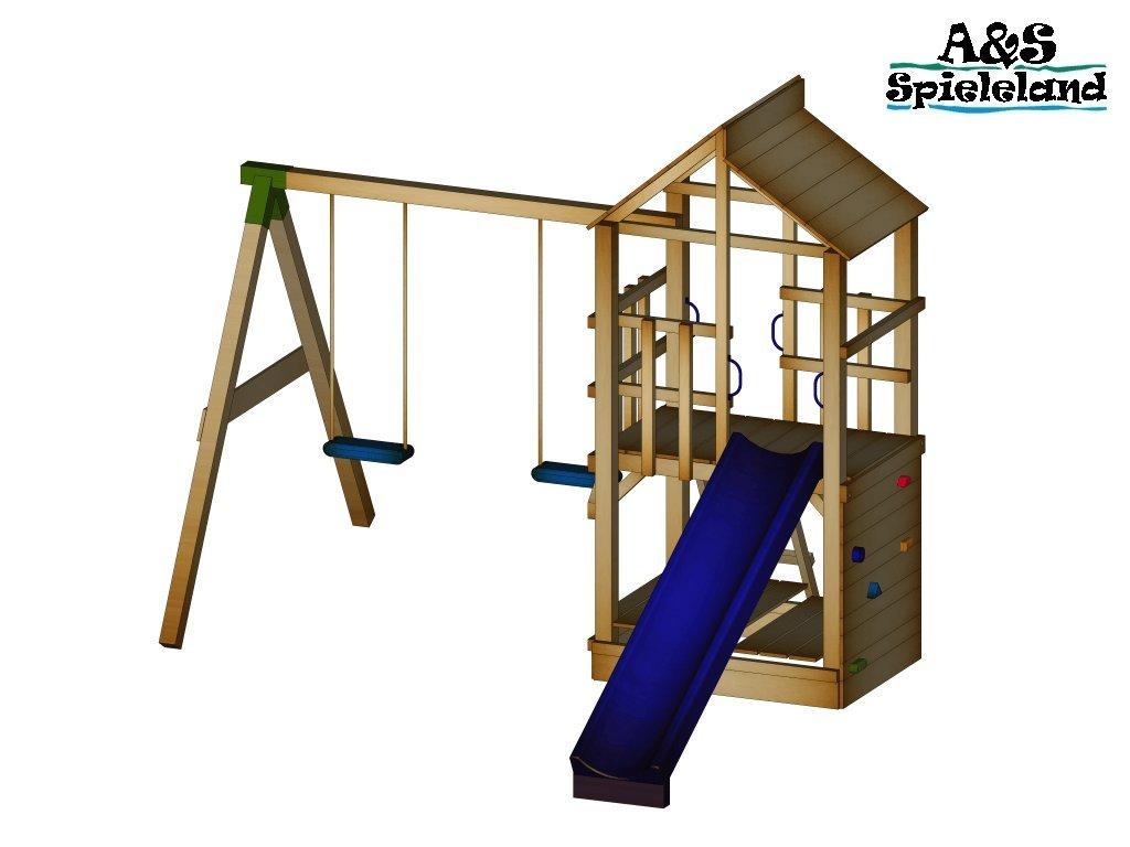 Spielturm BASTI 2.0 Podesthöhe 120cm mit 2,4m Wellenrutsche Set 2