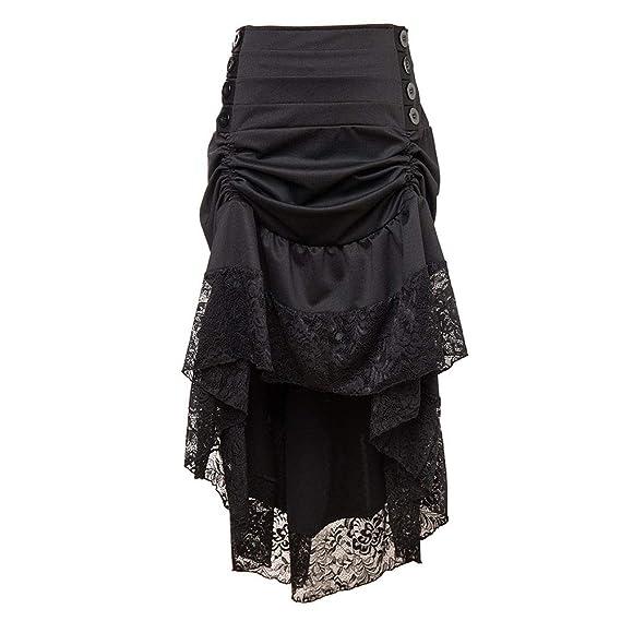 kewing Falda de Encaje Negro Retro Lolita gótica Punk para Mujer ...