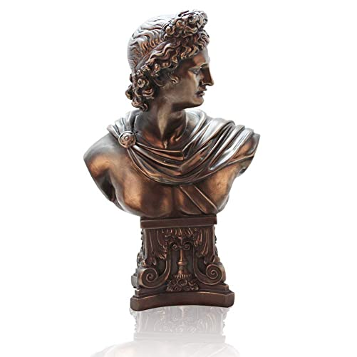 Lependor Bronze Finish Bust of Apollo Belvedere Statue Sculpture, 12 Inch, Bonded Marble Polyresin