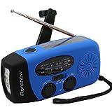 (Upgraded Version) iRonsnow Solar Emergency NOAA Weather Radio Dynamo Hand Crank Self Powered AM FM WB Radios 1 LED Flashlight 1000mAh Smart Phone Charger Power Bank (Blue)