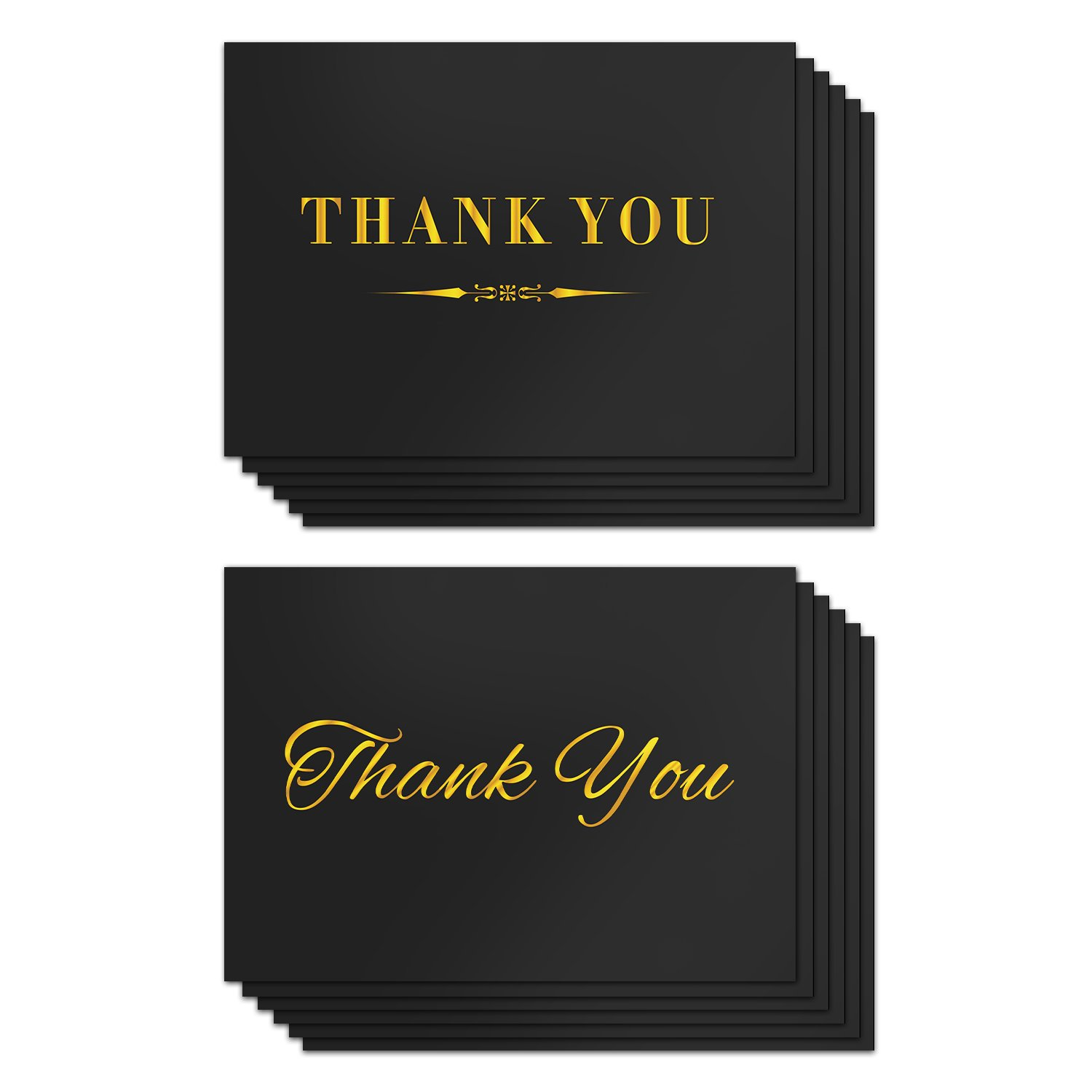 """Shiplies 100-Count Gold Blocking Thank You Cards with Self Seal Envelopes for Wedding, Bridal Shower, Baby Shower, Graduation, Birthday 4"""" x 6"""""""