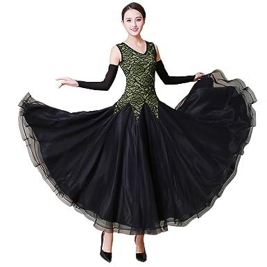 baa9f3128 NAKOKOU Ballroom Dance Dress Sleeveless Waltz Smooth Ballroom Dance  Flamenco Dress (Green,S)