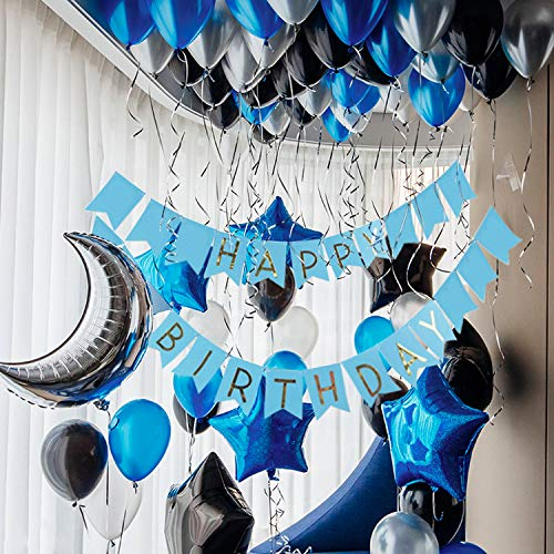 PartyWoo Black Blue Silver Birthday Balloons Pack 55 pcs Star Balloons Moon Balloons Happy Birthday Balloons Assorted Foil Balloons Mylar Balloons Latex Balloons - Royal Blue, Black, Silver Balloons