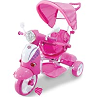 BAKAJI Triciclo Passeggino Scooter Vespina a Pedali a Spinta con Protezioni di Sicurezza per Bambini Manico Direzionabile Cappottina Tettuccio Parasole Luci Suoni (Rosa)