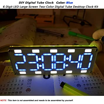 MakerHawk Reloj de Tubo Digital DIY 6 dígitos LED Pantalla Grande de Dos Colores Kit de Reloj de Escritorio Control táctil para Kits compatibles con ...