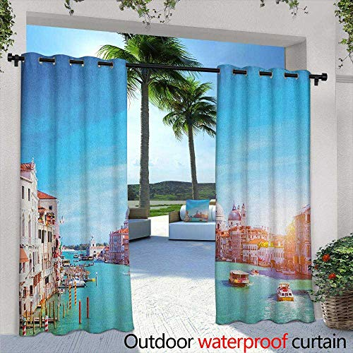 (LOVEEO Venice Indoor/Outdoor Curtains Grand Canal and The Salute Basilica on Sunny Day Touristic Destination Grommet Curtains for Bedroom 72