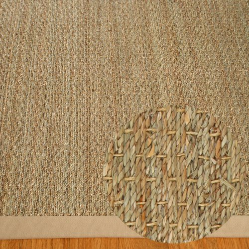 NaturalAreaRugs Natural Fiber Mayfair Seagrass Sage/Khaki Border Rug, 3-Feet by 5-Feet, Khaki (Rug Seagrass Border)
