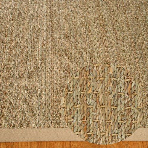 NaturalAreaRugs Natural Fiber Mayfair Seagrass Sage/Khaki Border Rug, 3-Feet by 5-Feet, Khaki (Seagrass Rug Border)