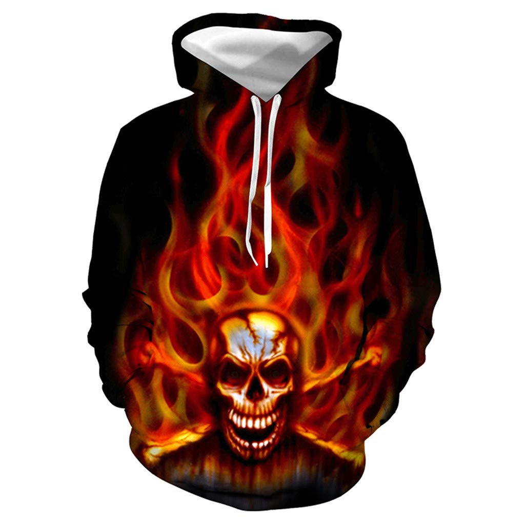 FEDULK Unisex Pullover Realistic 3D Print Casual Halloween Party Hooded Hoodies Sweatshirt with Pocket