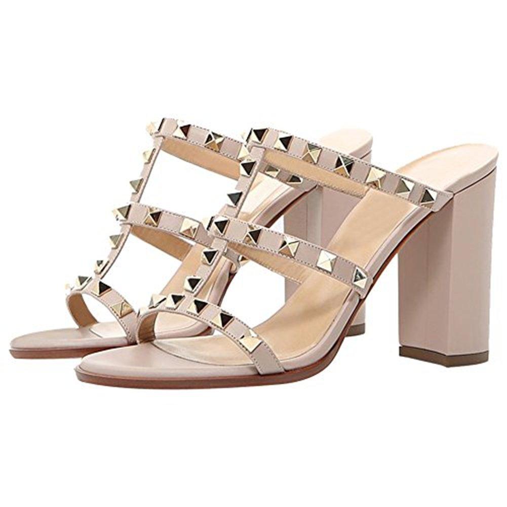 Chris-T Chunky Heels for Womens Studded Slipper Low Block Heel Sandals Open Toe Slide Studs Dress Pumps Sandals 5-14 US B07DH7WZ3B 5 M US|Nude/4 in