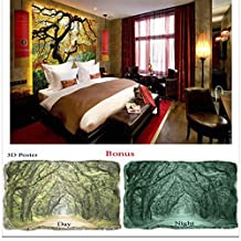 Wallpaper Startonight HD Nature Landscape Large Cool The Everest of Wall Murals for Living Room Maple Tree in Garden - Bonus Free GIFT 3D Poster Green Forest Lake (72 x 50.4 Inch/183 x 128 cm)