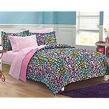 5pc Girls Teen Rainbow Leopard Themed Comforter Twin XL Set, Cheetah Pattern Bedding, Cute Neon Color Animal, Blue Pink Orange Green Yellow Black