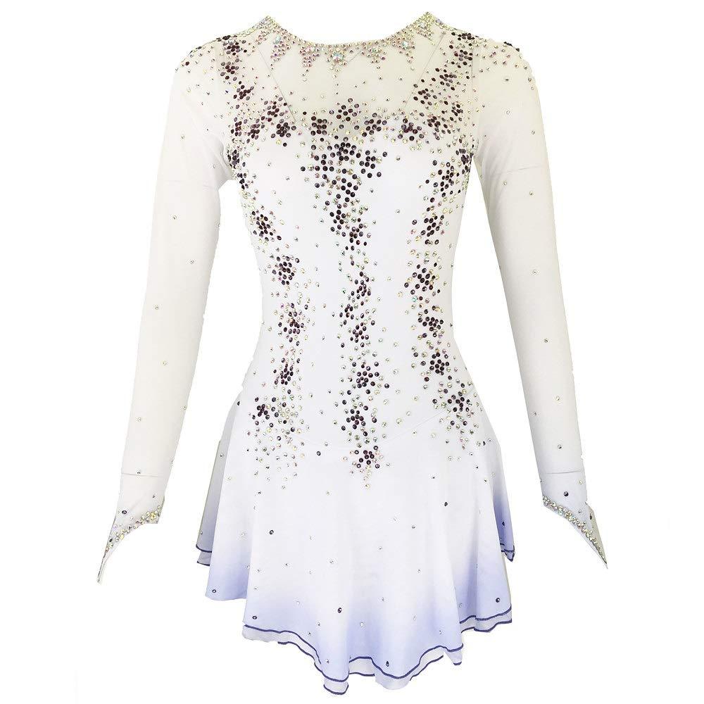 女性と女の子のための手作りアイススケートドレス、フィギュアスケート競技衣装ナイロンクリスタルフィギュアスケートドレス長袖白 ホワイト M