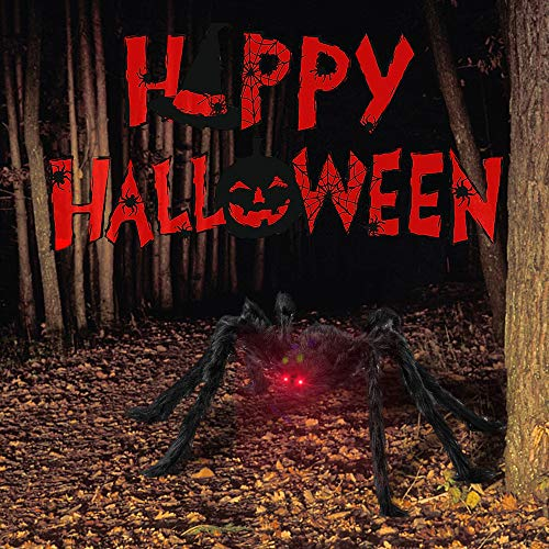 Halloween Spider Decorations, 4.1ft Scary Giant Spider with Red LED Eyes and Spooky Sound, 20pcs Small Plastic Spiders + 12ft Spider Web + 200sqft Cobwebs for Halloween Decor Outdoor, Indoor, Party, Bedroom, Yard