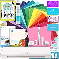 Silhouette CAMEO 3 Bluetooth Starter Bundle with 24-12x12 Inch Oracal 651 Sheets, Transfer Paper, Guide, Class, Tattoo Paper, Sticker Paper, and More