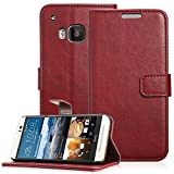 Fosmon® HTC One M9 Wallet Case - CADDY-VINTAGE (PU) Leather Multipurpose Wallet Stand Case for HTC One M9 / Hima (Red)