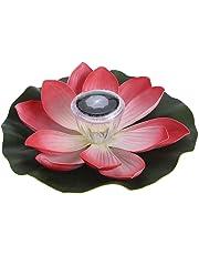 Lixada 0.1W Flor de Lotus de LED Multicolor Accionado Solar Lámpara RGB Resistente al Agua al Aire Libre Flotación Estanque Luz de la Noche