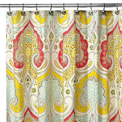 Eanshome Bright Red And Yellow India Tropical Bathroom Shower Curtain With Paisley Patterns Approx 140 X