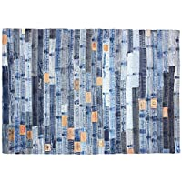 J&M Home Fashions Fashion Contemporary Vintage Retro Denim Bands Area Rug, 36x48, Perfect Living Room, Kitchen, Bed Room, Loft, Media Room, Game Room, Office more