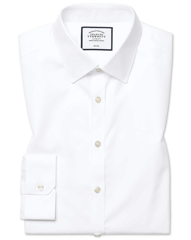Chemise Blanche Super Slim Fit En Twill Sans Repassage   Blanc (Poignet Mousquetaire)   16.5   36