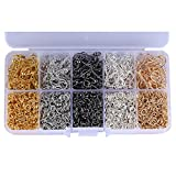1Box Jewellery Making Findings DIY Craft - 5 Colors Iron Earring ball Wire Fish Hooks and 5 Colors Open Jump Rings for Handmade Beaded Hand Chain Necklace Material Package