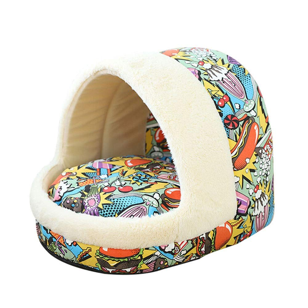 WEAO Burger Candy Pattern Cat Nest Two-sided Mat Kennel Dog House Cat House Keep Warm Kitten Cat Supplies Puppies Small Dog Kennel, PV Velvet Material