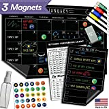 """Magnetic Dry Erase Refrigerator Calendar - 17"""" x 11"""" - Large Reusable Monthly Chalkboard - Meal Cooking Conversion Chart & To Do Grocery List - 2018 Kitchen Gift Set - Best Supplies For Smart Planners"""