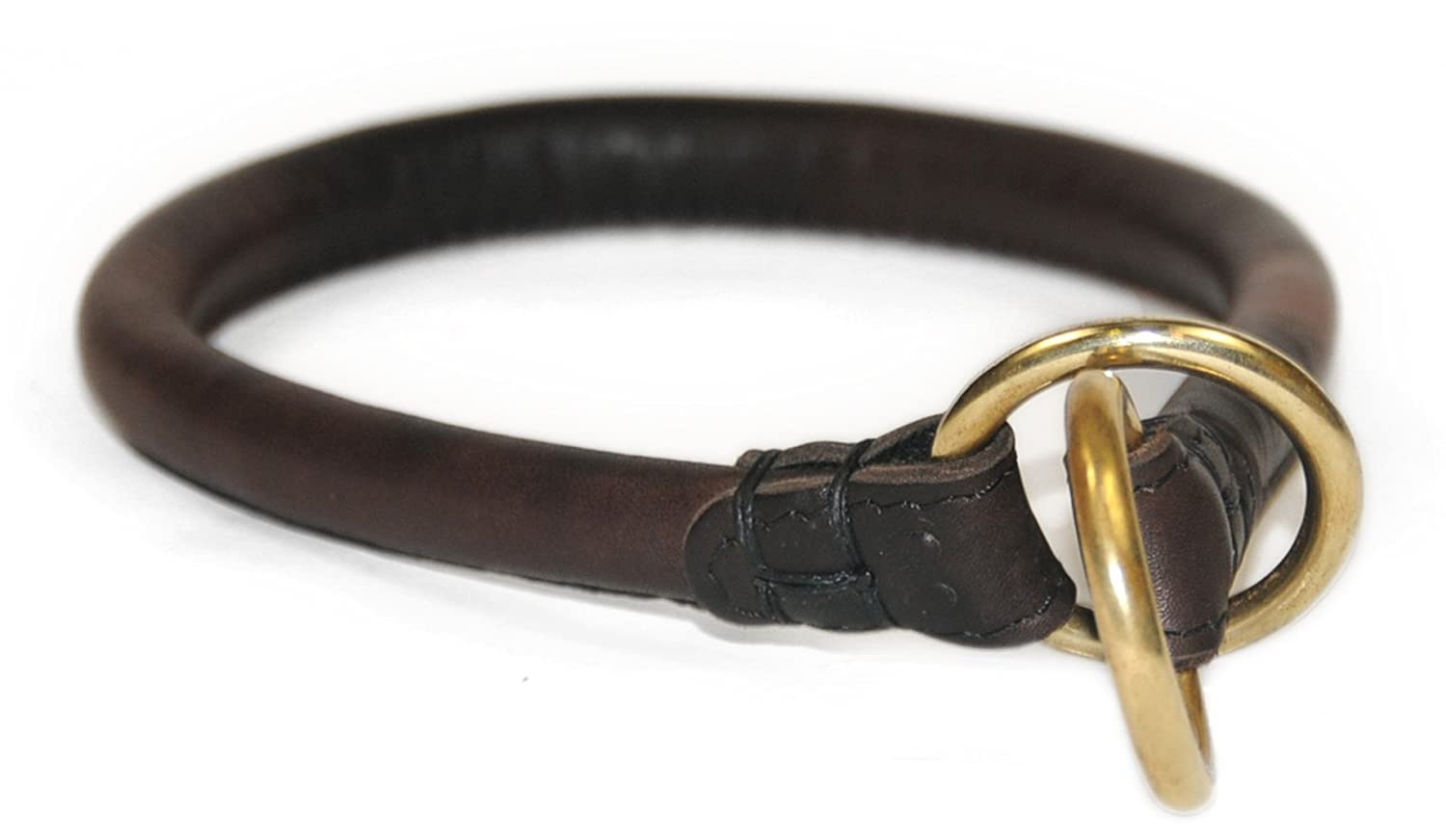 Dean and Tyler DESPERADO , Rounded Dog Choke Collar with Brass Hardware Brown Size 22-Inch by 1 2-Inch Diameter Fits Neck 20-Inch to 22-Inch