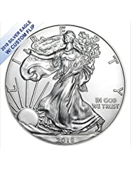2018 No Mint Mark American Silver Eagle W/Custom Flip $1 US Mint Brilliant Uncirculated
