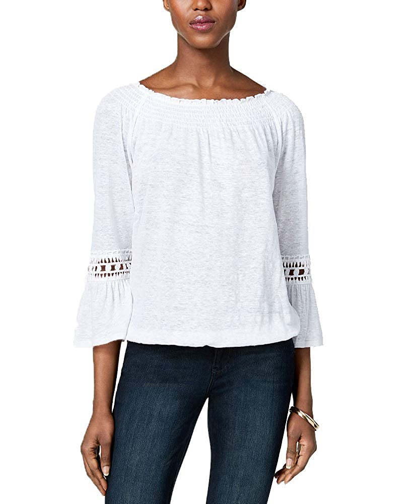 Bright White INC International Concepts I.N.C. Linen Peasant Top
