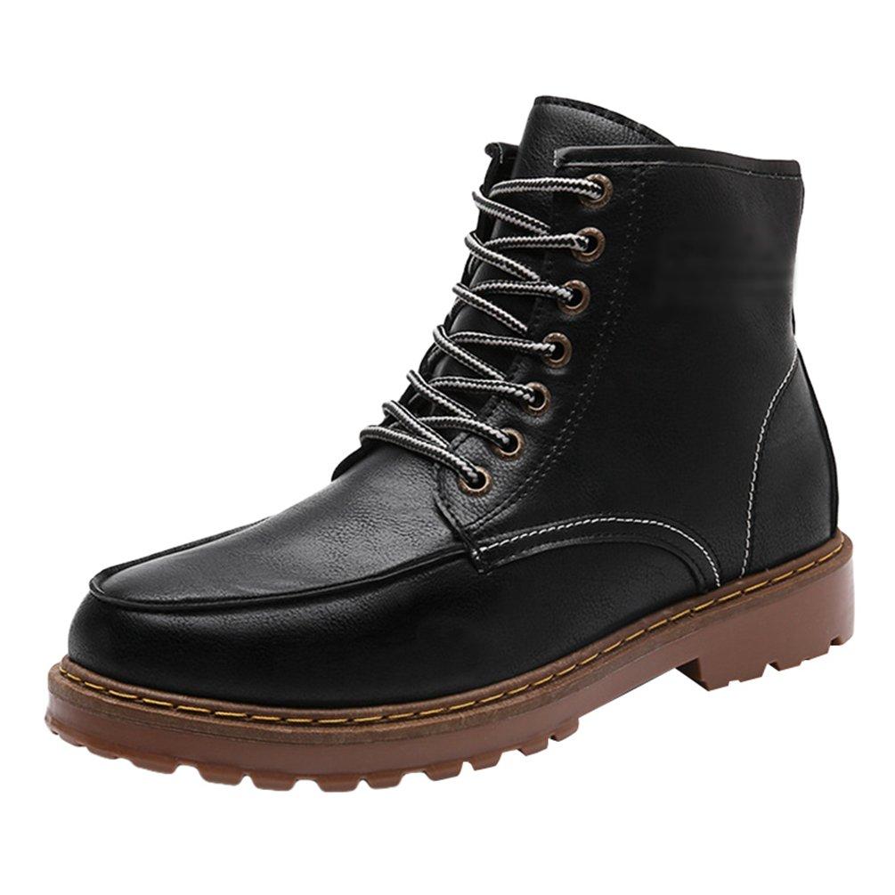 Anguang Herren Winter Ankle Boots Warm Winterschuhe Outdoor Schneestiefel Kurz Schnür Schuhe Schwarz 1