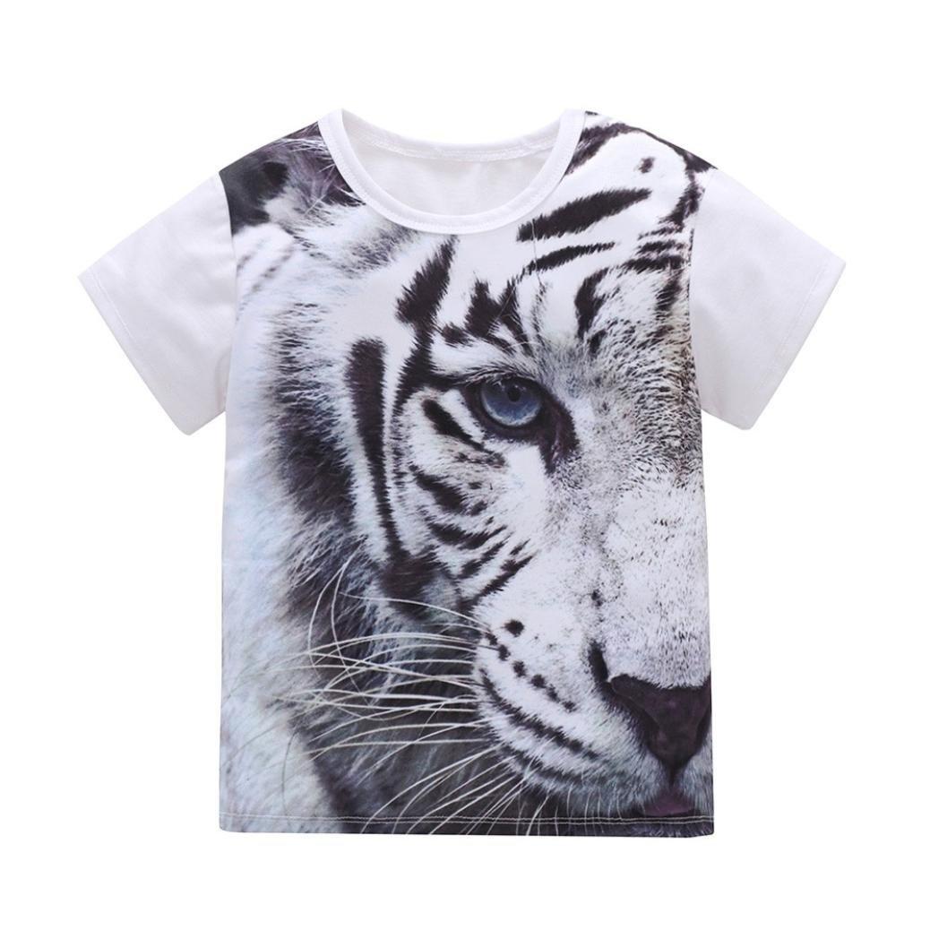 WARMSHOP Kids Boys Girls 3D Animals Print Short Sleeve Cotton Casual T-Shirt Pullover Tops Blouse