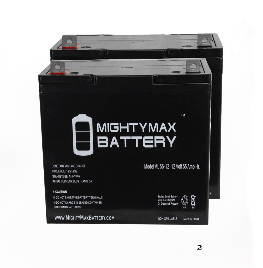 12V 55Ah INVACARE PRONTO M50 M6 M71 M91 M94 R2 R51 LX Battery - 2 Pack - Mighty Max Battery brand product
