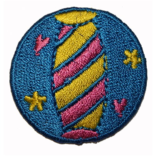 ID 1774 Striped Beach Ball Patch Volleyball Game Embroidered Iron On Applique ()