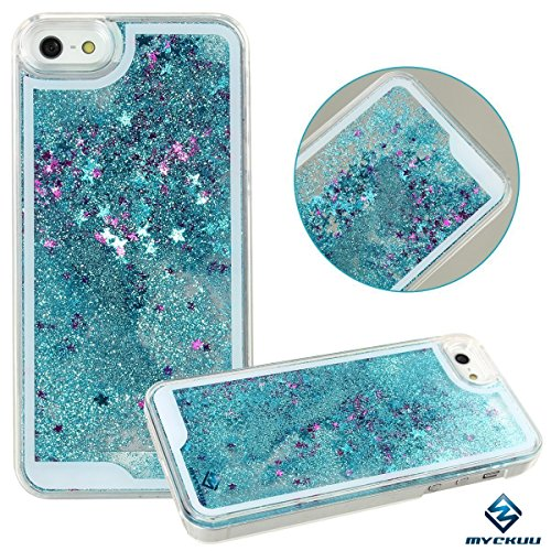 iPhone 6s plus case,iphone 6 plus case, liujie Liquid Cool Quicksand Moving Stars Bling Glitter Floating Dynamic Flowing Case Liquid Cover for Iphone 6s plus 5.5inch (blue)