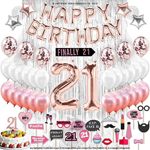 21st Birthday Decorations with Photo Props | 21 Birthday Party Supplies | 21 Cake Topper Rose Gold Banner | Rose Gold Confetti Balloons for her |Finally Legal 21 |Silver Curtain Photo Booth Backdrop -