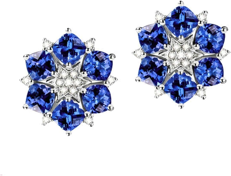 Daesar Pendientes de Mujer Plata Azul Pendientes Mujer Oro Blanco 18K Flor Tanzanita Azul 4.69ct Diamante 0.29ct