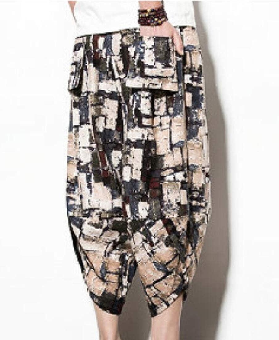 desolateness Men Summer Smock Waist Rayon African Dashiki Art Harem Baggy Pants