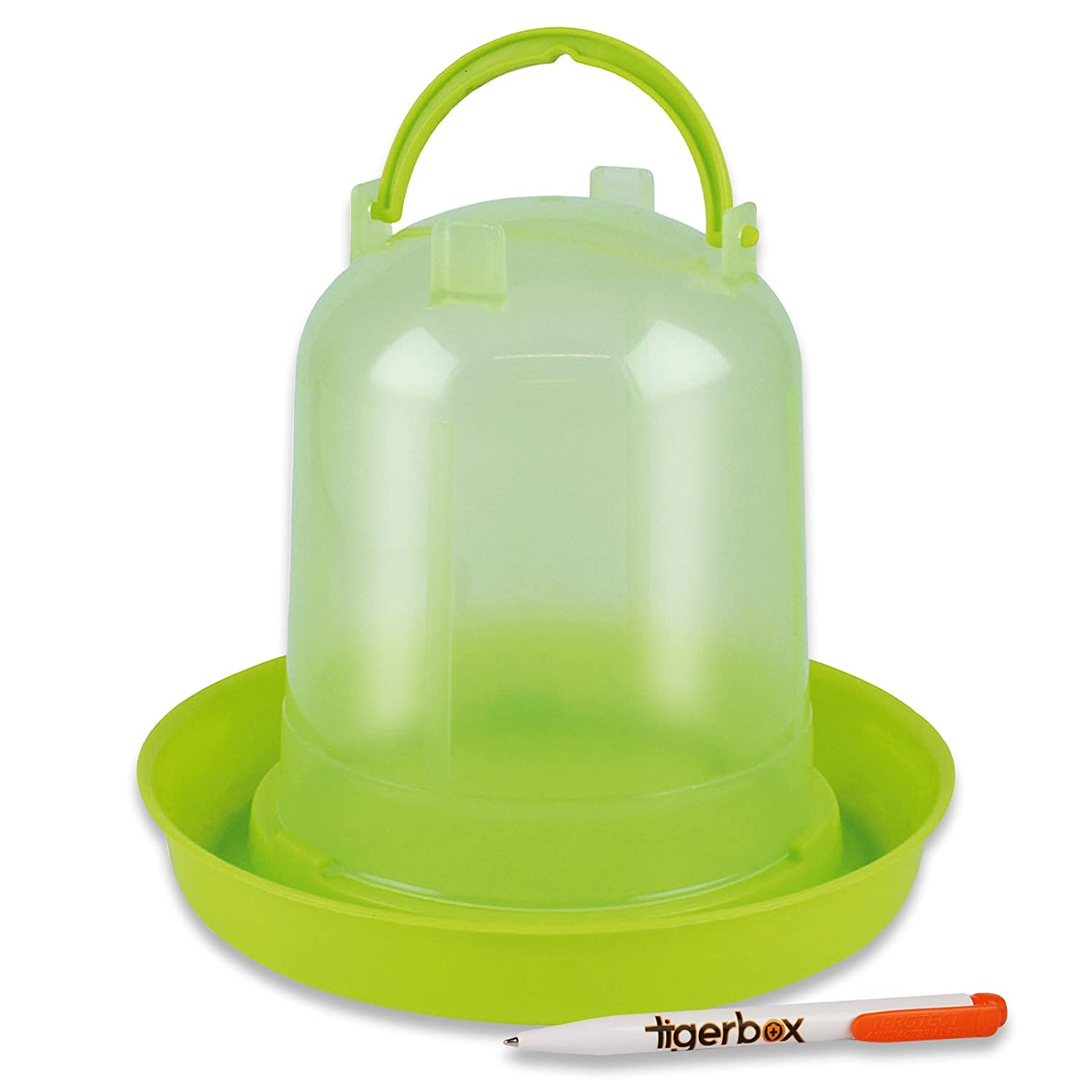 tigerbox Heavy Duty Plastic Hen Party Galley Pot Feeder Citrus Green Ideal for Pigeons Small Poultry