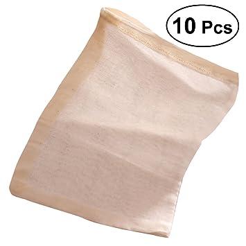 BESTONZON 10 bolsas de algodón reutilizables de 30 x 40 cm con cordón para colador, bolsa de filtro, bolsas de té con cordón para fruta de té, leche, ...