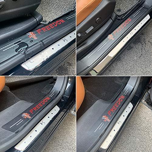 4Pcs Door Sill Sticker Flag Skull Logo Universal Door Sill Carbon Fiber Sticker Decoration with Red Letter Freedom Car Door Sill Scuff Guard Anti-Scratch Auto Interior Accessories Door Entry Guard