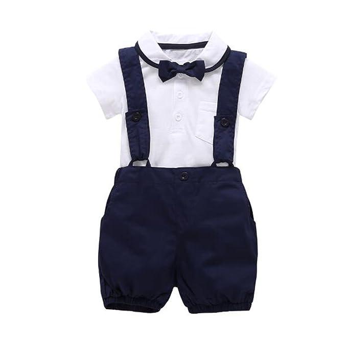 Comradesn Camiseta Blanca + pantalón + Pajarita 3cps Caballero bebé Ropa Conjunto: Amazon.es: Ropa y accesorios
