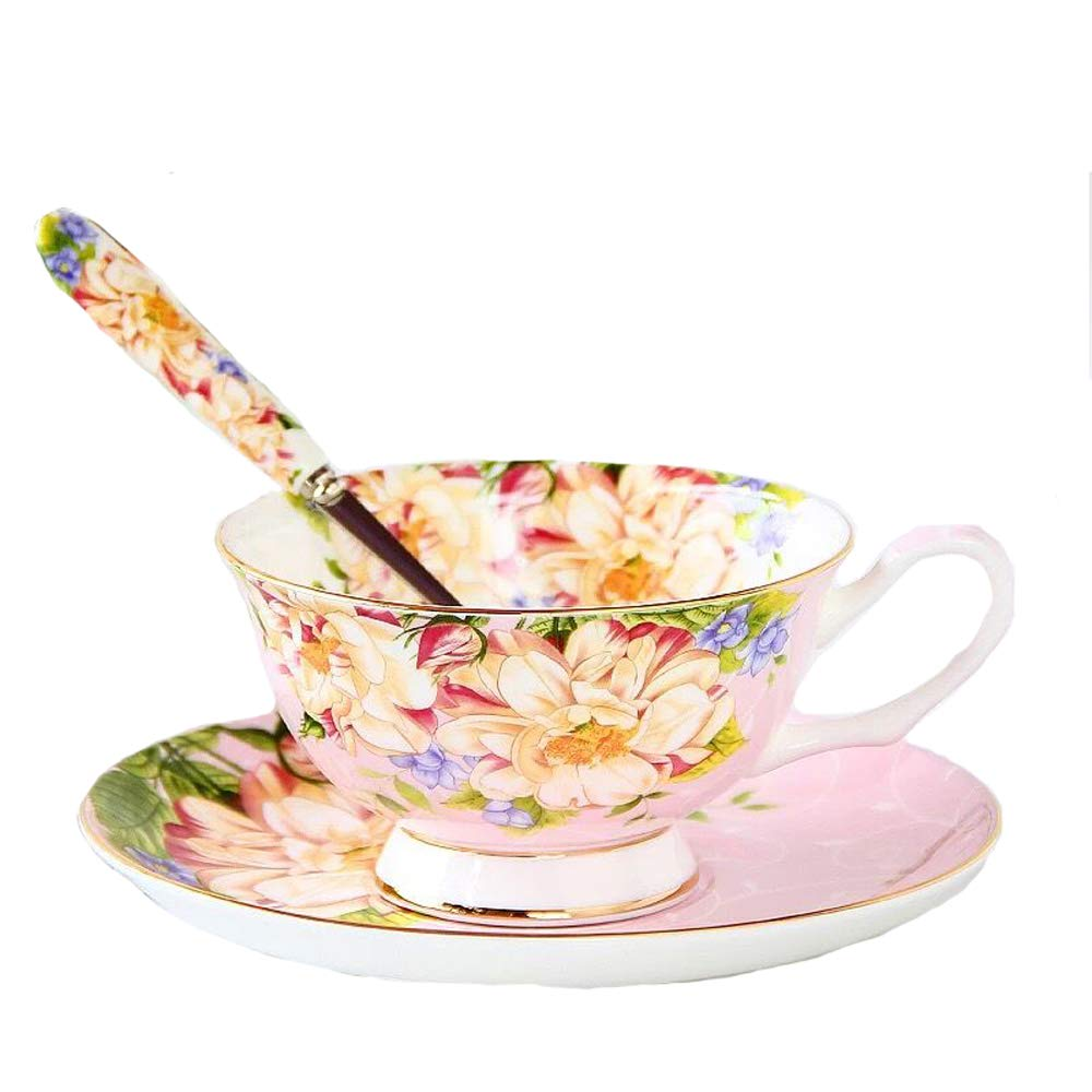 Gift Set Vintage Fine Bone China Tea Cup Spoon and Saucer Set Gold Trim Fine Dining and Table Décor (Dandelion) SudaTek