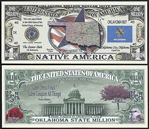 Oklahoma State Educational Million Dollar W Map, Seal, Flag, Capitol - Lot of 100 Bills