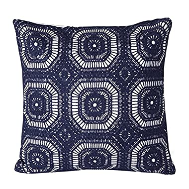 Mika Home Cotton Embroidery Geometric Circles Accent Decorative Pillow Case Cushion Cover for 18X18  inserts Navy White
