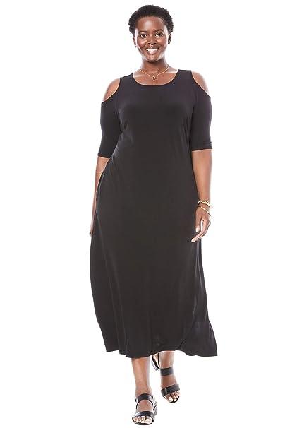 Woman Within Women\'s Plus Size Cold-Shoulder A-Line Maxi Dress