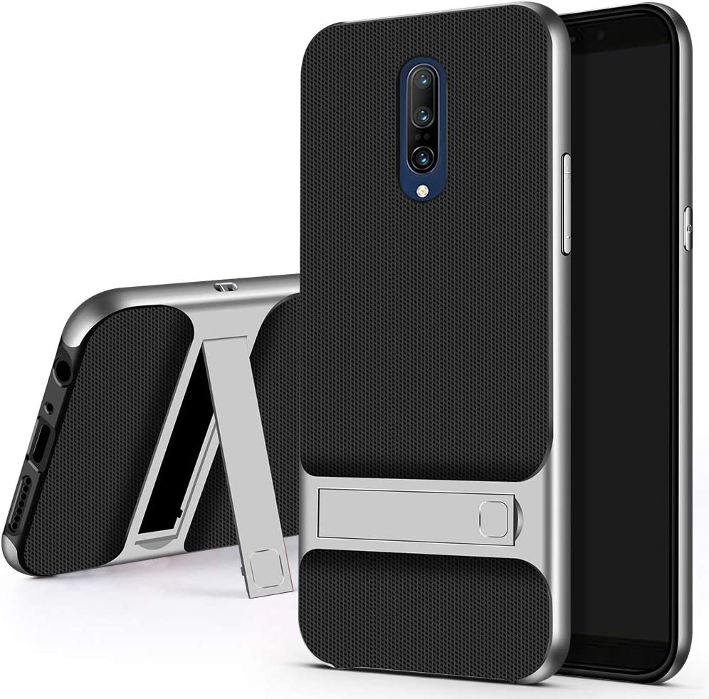 RLTech Case For Oneplus 7 Pro Silver Soft TPU Silicone /& PC Bumper Shock//Scratch Resistant With Stand Protective Cover Case for Oneplus 7 Pro